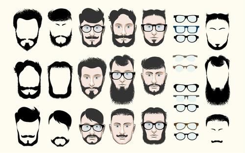 Mustache and Beard Hipster Fashion Set vectors