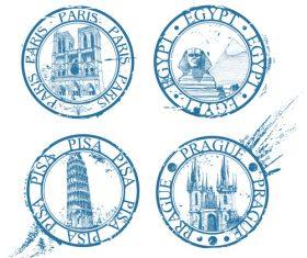 National landmark stamps vectors