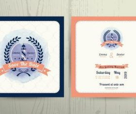 Nautical lighthouse wreath wedding invitation card template vector