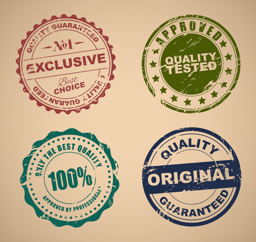 Old Stamp Quality set vector
