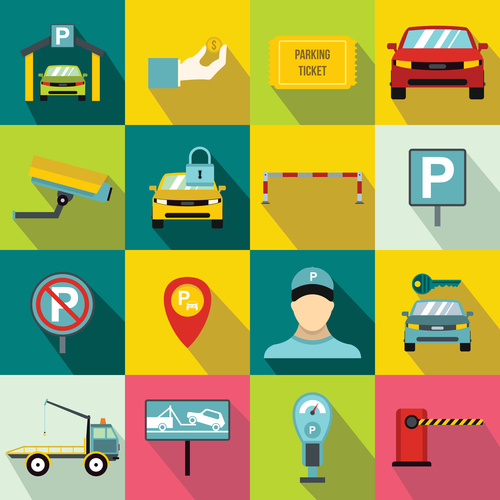 Parking and trailer icons flat style vector