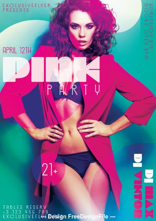 Pink party night psd template