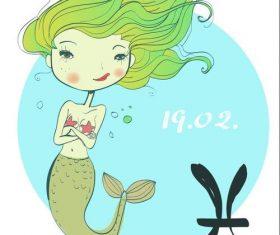 Pisces girl cartoon vector