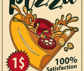 Pizza retro flyer vector material