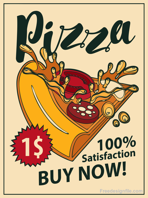 Pizza retro flyer vector material