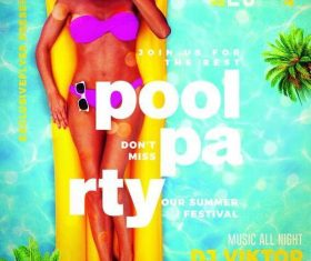Pool party 2019 flyer psd template