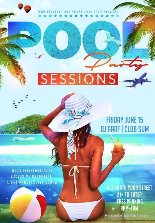 pool party flyer psd pool party flyer psd retro template free download