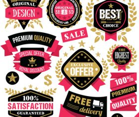 Premium Quality Badges Labels and Ribbons Set vectors