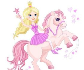Princess and Unicorn cartoon vectors