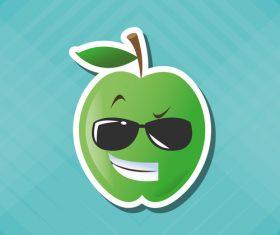 Proud Apple emoticon icon vector