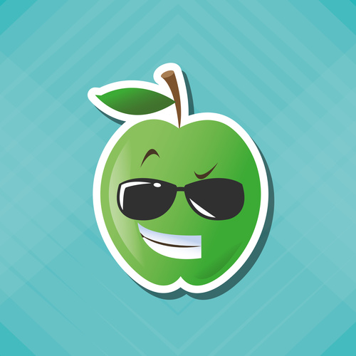 Proud Apple emoticon icon vector