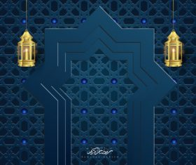 Ramadan kareem card with luxury decor vector