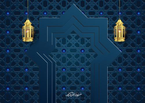 Ramadan kareem card with luxury decor vector