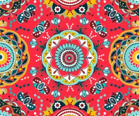 Red Floral seamless pattern vectors