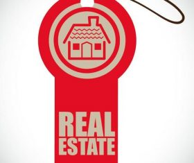 Red Real estate label vector