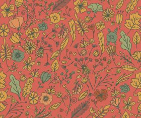 Red background Hand drawn Floral vector