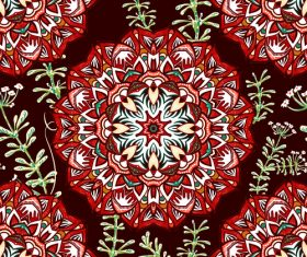 Red flower background and green branches pattern vectors