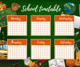 Red student class timetable design background vectors