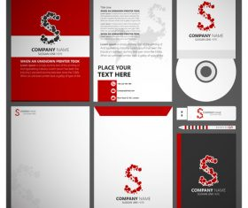Red style corporate identity template vector