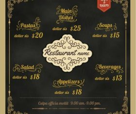 Restaurant Foods black menu vector