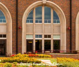 Retro Architecture and Flower Bed Stock Photo