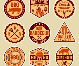 Retro BBQ label vector