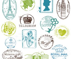 Retro characters and architectural stamps vectors