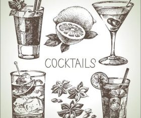 Retro cocktail and lemon menu vectors