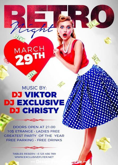 Retro night party flyer psd template