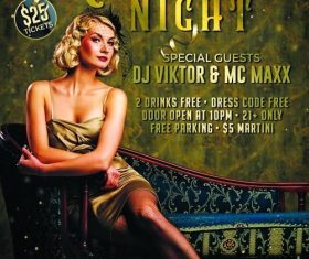 Retro party night flyer psd template