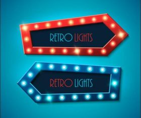 Retro red blue arrow lights vector