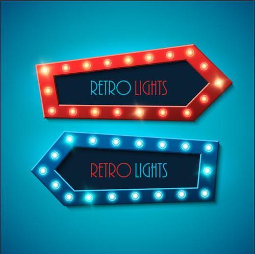 Retro red blue arrow lights vector