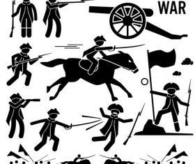 Revolutionary war icon silhouette vector
