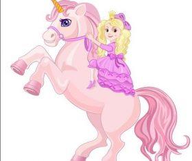 Riding unicorn little girl cartoon vectors 01