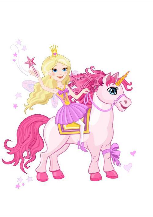 Riding unicorn little girl cartoon vectors 02