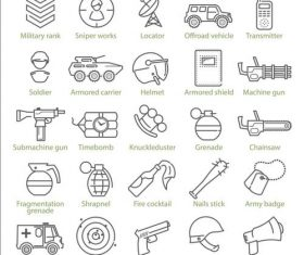 Riot and war linear icons vector