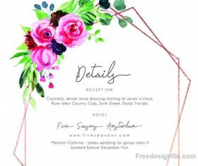 Romantic watercolor floral Invitation card template