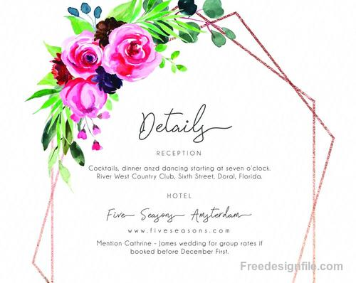 Romantic watercolor floral Invitation card template