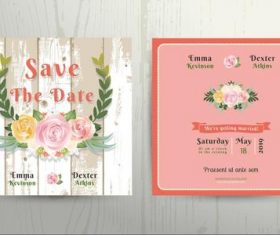 Rose Wedding Invitation Card Template vector
