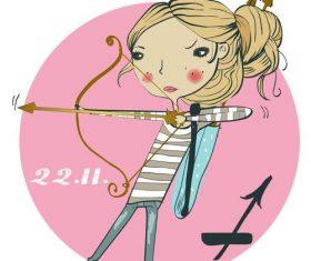 Sagittarius girl cartoon vector