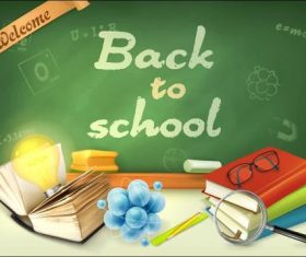 School blackboard and book vector