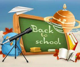 School blackboard and teaching equipment vector