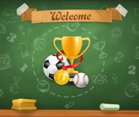 School blackboard and trophy vector