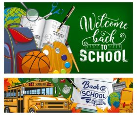 School bus and student supplies banner design vector