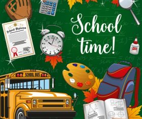 School bus background and student supplies vectors