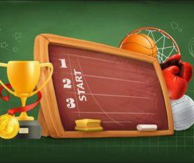 School sports activities and trophies vector