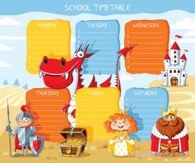 School timetable cartoon kingdom styles vector