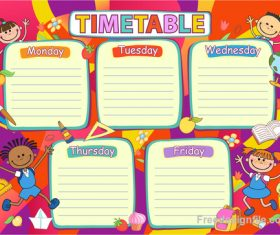 School timetable template with cartoon kids vector