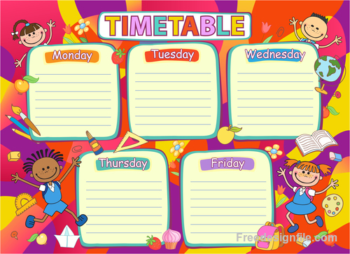 School Timetable Template With Cartoon Kids Vector Free