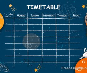School timetable template with cartoon space background vector
